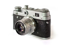 Old camera. Old film camera with lens macro shot royalty free stock images