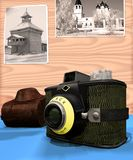 Old camera. Aging photo camera beside wall.My photographies are Used on back background, executed in 3 D Stock Photography