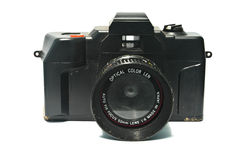 Old camera. Old and dirty camera on white background Royalty Free Stock Photos