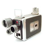 Old camera. The old film camera device at white background stock photography