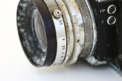 Old Camera. A close up of an old, dirty camera Royalty Free Stock Photos
