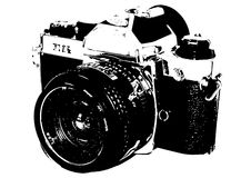 Old camera. Drawing in black&white Royalty Free Stock Photos