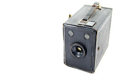 Old camera. Old black camera, isolated, photography Royalty Free Stock Images