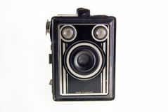 Old camera. Isolated close-up of an old box-camera Stock Image