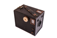 Old camera. Old box camera on white background royalty free stock image