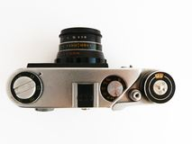 Old camera. Old rangefinder small format photo camera Royalty Free Stock Photo