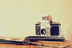 Old camera, antique photographs Stock Image