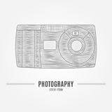 Old camera - branding identity element, isolated on white backgr Royalty Free Stock Photos