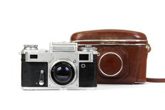 Old camera and case. Stock Image