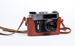 Old camera in case Stock Photos