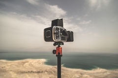 Old Camera Dead Sea Israel. Old medium format camera pointed to the Dead Sea in Israel Royalty Free Stock Photos