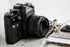 Old camera and different things Stock Photo
