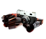 Old camera and film Royalty Free Stock Photos