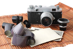 Old camera and film Stock Image