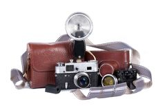 Old camera with flash Stock Photos
