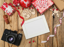 Old camera and frame for photo Royalty Free Stock Photos