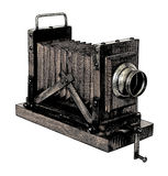 Old camera. Gravure effect in photoshop Royalty Free Stock Image