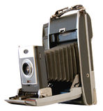 Old Camera Isolated. Old Polaroid camera from the sixties with bellows Royalty Free Stock Image