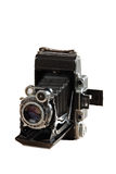 Old camera (isolated). Old Russian photo camera (isolated on white royalty free stock images