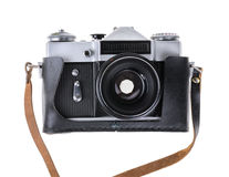 Old camera isolated on a white Royalty Free Stock Image