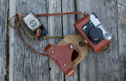 Old camera in a leather case Royalty Free Stock Photo