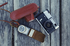 Old camera in a leather case Stock Photography