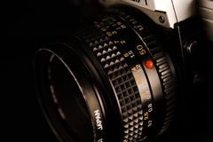Old Camera Lens. A manual SLR 50mm camera lens Royalty Free Stock Images