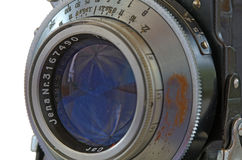 Old camera lens with leaf shutter Stock Images