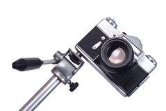Old camera on monopod Royalty Free Stock Image