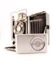 Old camera and new compact camera royalty free stock photo