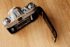 Old camera open Royalty Free Stock Images