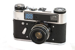 Old camera. Old rangefinder film camera are available with 1977 year Stock Photo