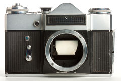 Old camera with removed lens Stock Photo