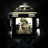 Old camera's viewfinder. A look through the viewfinder of an old Yashica D Royalty Free Stock Photo