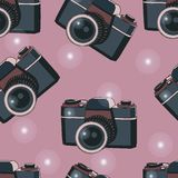 Old camera seamless pattern. Seamless pattern with old film cameras Stock Image
