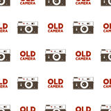 Old camera seamless pattern. Vintage photography elements and typography design. background. Illustration.  Royalty Free Stock Image