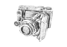 Old camera. Sketch on white background Royalty Free Stock Image