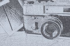 Old camera in sketchy graphic style. Illustration of old camera in sketchy graphic style stock images