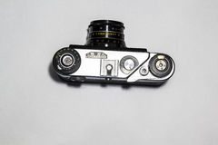 Old camera. Old Soviet-style film camera Royalty Free Stock Images