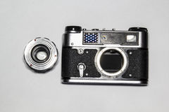 Old camera. Old Soviet-style film camera Royalty Free Stock Photos