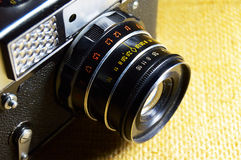 Old camera top view Stock Photography