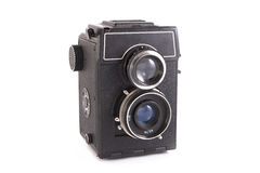Old camera with two lenses Royalty Free Stock Photos