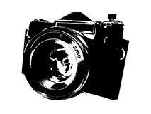 Old Camera. The old type of camera foreign production. Medium camera. The image is created as a sketch - . Suitable for any web page, printing and others stock illustration