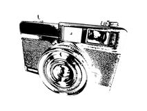 Old Camera. The old type of camera foreign production. Medium camera. The image is created as a sketch - . Suitable for any web page, printing and others royalty free illustration