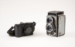Old camera versus the new one Royalty Free Stock Photography