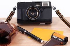 Old camera, vintage camera films popular in the past. Royalty Free Stock Images