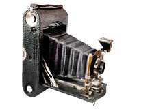 Old camera vintage isolated on a white background. Bellows camera on medium format built in the early 1900s stock photo