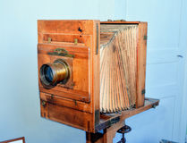 Old camera. Vintage photographic camera accordion.Old design royalty free stock photography
