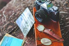 Old camera & watch Stock Images