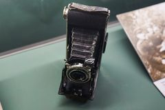 Old camera, which filmed footage of the war stock photo